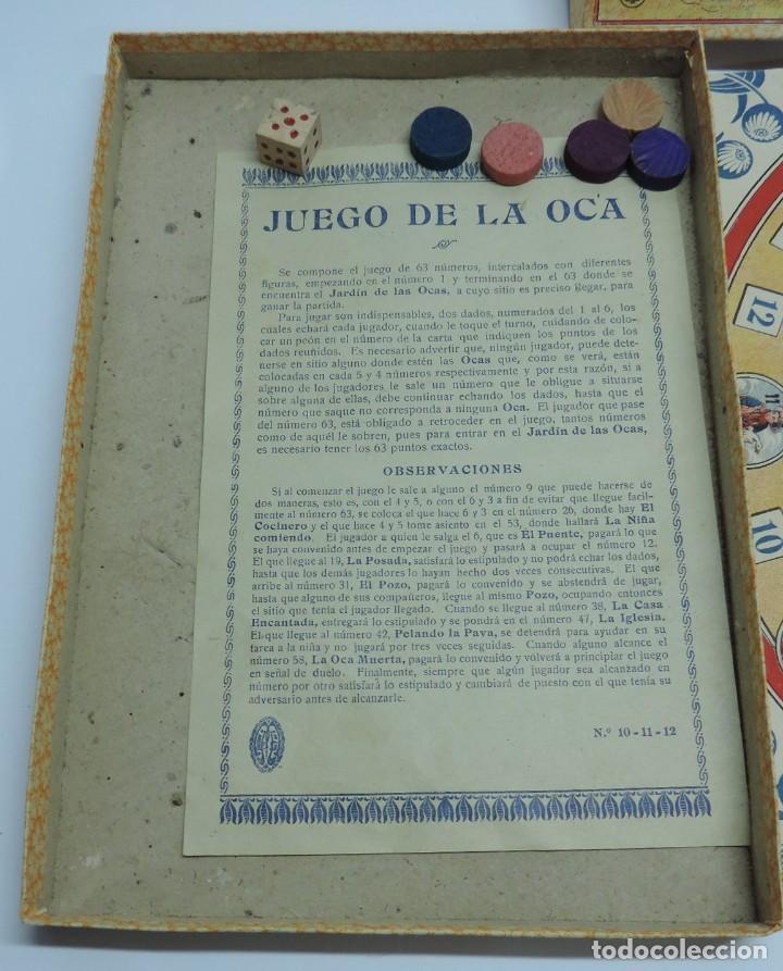Juegos de mesa: ANTIGUO JUEGO DE LA OCA, COMPLETAMENTE ORIGINAL, CON INSTRUCCIONES,º la caja de carton mide 25,5 X 1 - Foto 4 - 132623598