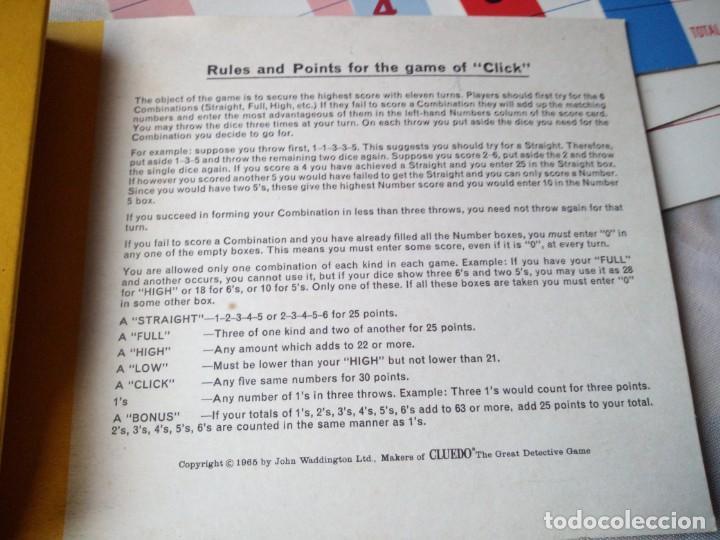 Juegos de mesa: Waddington´s Click Juego de mesa inglés. target games 1967 - Foto 4 - 132648790
