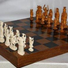 Juegos de mesa: SENSACIONAL AJEDREZ CON FIGURAS DE MARFIL.1ª MITAD DEL SIGLO XX. Lote 136827230