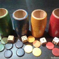 Juegos de mesa: LOTE CUBILETES, DADOS Y FICHAS DE JUEGO DE PARCHÍS EN MADERA.. Lote 137106654