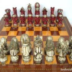 Juegos de mesa: GIGANTE AJEDREZ CON 32 TALLAS DE MADERA - REY 17 CM + GRAN TABLERO DE 60 CM, PESO 6.8 KG. Lote 139473846