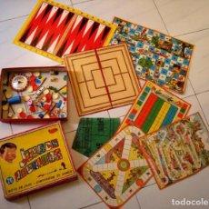 Juegos de mesa: CAJA DE JUEGOS REUNIDOS GEYPER INCOMPLETA + CARTONES DE JUEGOS ANTIGUOS.. Lote 141005462