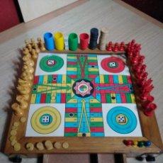 Juegos de mesa: CAJA JUEGOS SOBREMESA INFANSOL CON LA OCA, AJEDREZ, DAMAS, CIRP, GOL ATOMICO, PARCHIS, SACAYPON II. Lote 145401134
