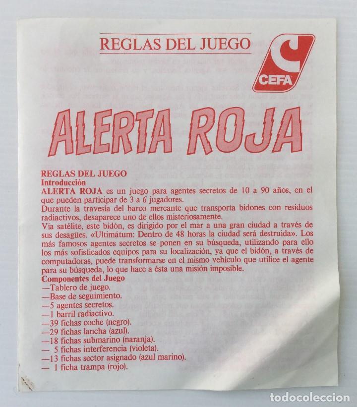 Juegos de mesa: Juego Alerta Roja de CEFA – Años 80 – CELULOSA FABRIL - Foto 10 - 147914874