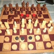 Juegos de mesa: AJEDREZ Y DAMAS TABLERO Y PIEZAS EN MADERA CAYRO MIDEN: TABLERO 25/25 FICHAS 5-2 CM . Lote 148698218