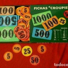 Juegos de mesa: FICHAS CASINO - POKER - CAJA CON 275 FICHAS CROUPIER CON UN TOTAL DE 44.250 PUNTOS (RARO) POCKER. Lote 149729846