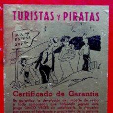 Juegos de mesa: TABLERO DEL JUEGO: TURISTAS Y PIRATAS. FRANCISCO ROSELLÓ. BARCELONA. AÑOS 50. JUEGOS CRONE.. Lote 150116762
