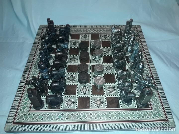 Juegos de mesa: Maravilloso conjunto ajedrez, damas, tablero de taracea nácar madreperla y baúl motivos granadinos - Foto 7 - 157246334