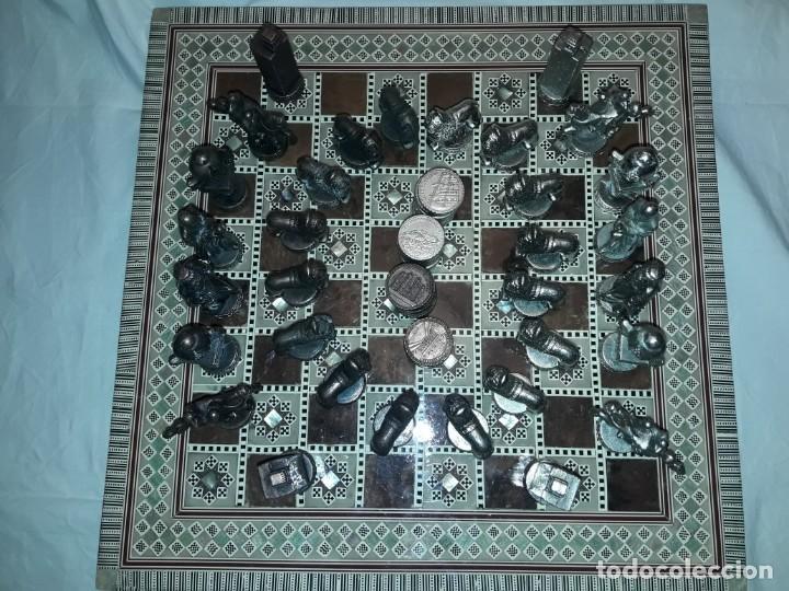 Juegos de mesa: Maravilloso conjunto ajedrez, damas, tablero de taracea nácar madreperla y baúl motivos granadinos - Foto 22 - 157246334