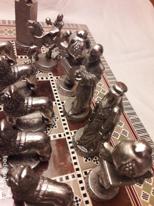 Juegos de mesa: Maravilloso conjunto ajedrez, damas, tablero de taracea nácar madreperla y baúl motivos granadinos - Foto 27 - 157246334