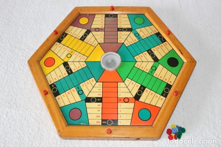 ANTIGUO PARCHIS PARCHEESI DE MADERA, AUTOMATICO PARA 6 JUGADORES - HEXAGONAL (Juguetes - Juegos - Juegos de Mesa)