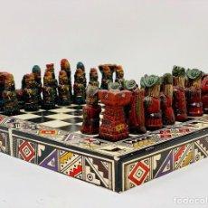 Juegos de mesa: IMPRESIONANTE AJEDREZ DEL DESCUBRIMIENTO, EN PIEDRA Y MADERA, AÑOS OCHENTA.. Lote 160285678