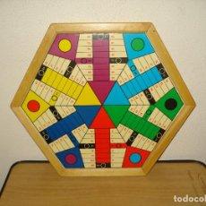 Juegos de mesa: ANTIGUO TABLERO JUEGOS PARCHÍS Y OCA HEXAGONAL. Lote 160402606