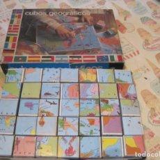 Juegos de mesa: ANTIGUO JUEGO CUBOS GEOGRAFICOS BORRAS (COMPLETO CON LÁMINAS). Lote 162445590