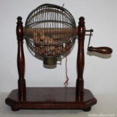 Juegos de mesa: BOMBO LOTERÍA BINGO EN METAL Y MADERA DE PRINCIPIOS DEL SIGLO XX. Lote 164272002