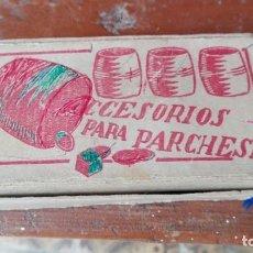 Juegos de mesa: ACCESORIOS PARA PARCHESSI MADERA COMPLETO FICHAS Y DADOS. Lote 165604702
