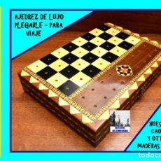 Juegos de mesa: AJEDREZ DE LUJO EN TARACEA GRANADINA - PLEGABLE - PARA VIAJE - MADERAS NOBLES, CAOBA Y HUESO. Lote 166214394