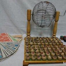 Juegos de mesa: ANTIGUO BINGO, LOTERÍA COMPLETO, AÑOS 50,MADERA Y METAL . Lote 166884600