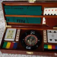 Juegos de mesa: MALETÍN DE JUEGO DE RULETA, DADOS Y NAIPES. Lote 167611362