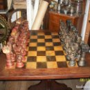 Juegos de mesa: ANTIGUO JUEGO DE AJEDREZ-SIGLO XIX/XX-FIGURAS POLICROMADAS-TABLERO 80 X 80 CM. Lote 168756856