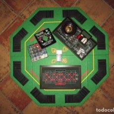Juegos de mesa: TABLERO PLEGABLE DE PÓKER, FICHAS DE PÓKER Y SET DE 4 JUEGOS CLÁSICOS DE CASINO. Lote 170951330