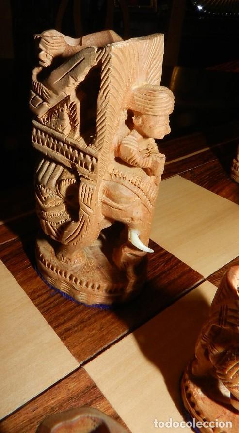 Juegos de mesa: Antiguo Juego de Ajedrez Indio tallado a mano, llevalas 32 piezas talladas a mano en madera, todo ta - Foto 12 - 170977843