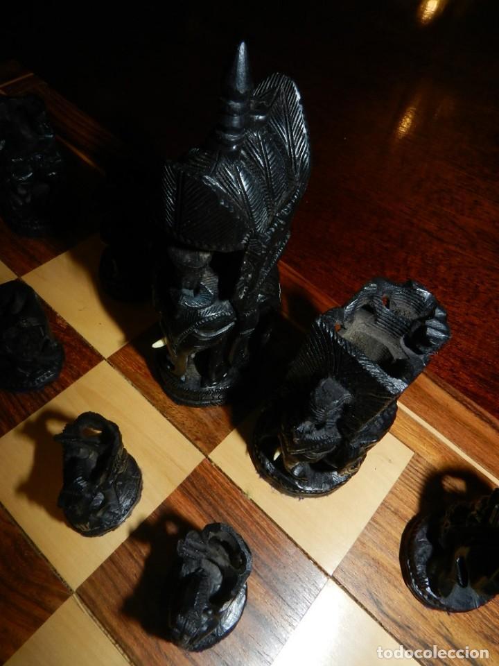 Juegos de mesa: Antiguo Juego de Ajedrez Indio tallado a mano, llevalas 32 piezas talladas a mano en madera, todo ta - Foto 25 - 170977843
