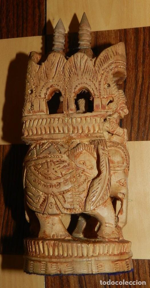 Juegos de mesa: Antiguo Juego de Ajedrez Indio tallado a mano, llevalas 32 piezas talladas a mano en madera, todo ta - Foto 31 - 170977843