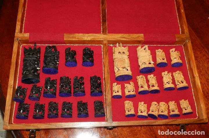 Juegos de mesa: Antiguo Juego de Ajedrez Indio tallado a mano, llevalas 32 piezas talladas a mano en madera, todo ta - Foto 37 - 170977843