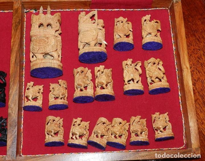 Juegos de mesa: Antiguo Juego de Ajedrez Indio tallado a mano, llevalas 32 piezas talladas a mano en madera, todo ta - Foto 39 - 170977843