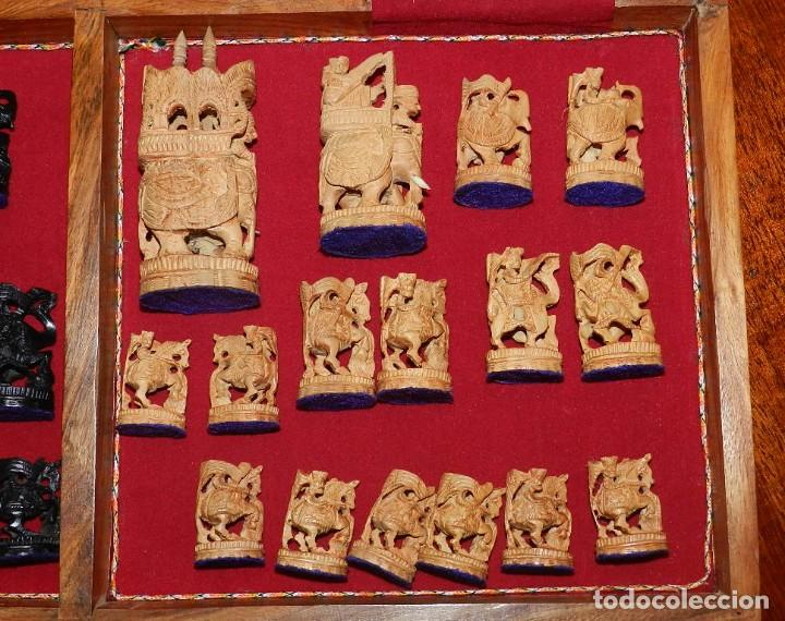 Juegos de mesa: Antiguo Juego de Ajedrez Indio tallado a mano, llevalas 32 piezas talladas a mano en madera, todo ta - Foto 40 - 170977843