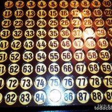Juegos de mesa: SIGLO XIX ANTIGUO TABLERO BINGO CARTÓN MADERA Y PLÁSTICO PRECIOSO. Lote 173032219