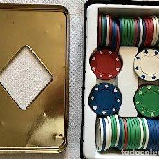Juegos de mesa: CAJA DE LATA (19 X 11,5 CM) DE FICHAS (SIN VALORES) DE POKER PROFESIONAL. *HAY 87*. Lote 173736410