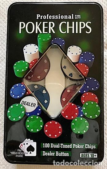 Juegos de mesa: Caja de lata (19 x 11,5 cm) de fichas (sin valores) de poker profesional. *Hay 87* - Foto 2 - 173736410