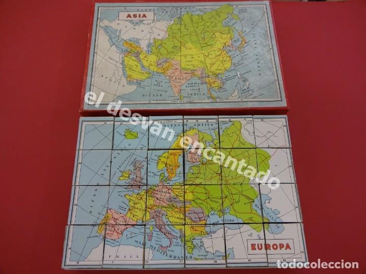 ATLAS O MAPA DE ANTIGUO ROMPECABEZAS CUBOS DE CARTÓN LITOGRAFIADO. AÑOS 1950. MBE (Juguetes - Juegos - Juegos de Mesa)