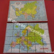 Juegos de mesa: ATLAS O MAPA DE ANTIGUO ROMPECABEZAS CUBOS DE CARTÓN LITOGRAFIADO. AÑOS 1950. MBE. Lote 176104547
