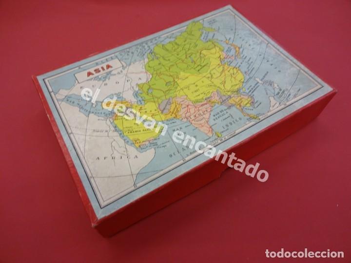 Juegos de mesa: ATLAS o mapa de antiguo ROMPECABEZAS cubos de cartón litografiado. Años 1950. MBE - Foto 2 - 176104547