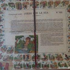 Juegos de mesa: JUEGO DE LA OCA PALUZIE FINALES SIGLO XIX EN SU CAJA TABLERO DESPLEGADO 44X38 CON DADOS Y CUBILETE. Lote 176175635