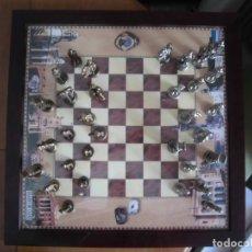 Juegos de mesa: AJEDREZ METÁLICO CONSTITUCIÓN CÁDIZ COMPLETO + TABLERO ENMARCADO. Lote 176504515