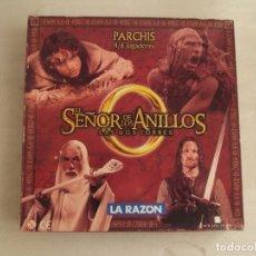 Juegos de mesa: PARCHÍS EL SEÑOR DE LOS ANILLOS, LA RAZON 2002, COMPLETO Y NUNCA SE HA USADO. 4/6 JUGADORES. Lote 178937753