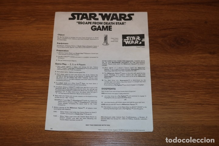 Juegos de mesa: Juego mesa Star Wars Escape From Death Star Estrella Muerte 1977 Palitoy cartas Kenner - Foto 3 - 180427828