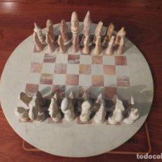 Juegos de mesa: ANTIGUO AJEDREZ TRIBAL TALLADO A MANO EN PIEDRA. Lote 184892378
