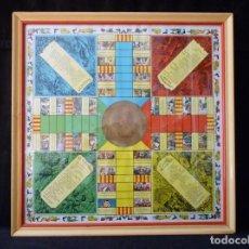 Juegos de mesa: ANTIGUO PARCHIS CON MARCO Y CRISTAL. FALLA MALVARROSA - A. PONZ - CAVITE. LIT. AÑON. VALENCIA. Lote 187424507