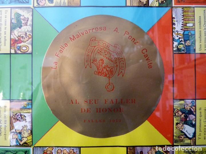 Juegos de mesa: ANTIGUO PARCHIS CON MARCO Y CRISTAL. FALLA MALVARROSA - A. PONZ - CAVITE. LIT. AÑON. VALENCIA - Foto 2 - 187424507