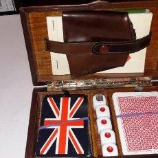 Juegos de mesa: MALETIN DE JUEGOS DE MESA EN MADERA FORRADO EN PIEL AUTÉNTICA - VINTAGE. Lote 191378500