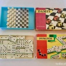 Juegos de mesa: LOTE DE 2 JUEGOS BOLSILLO ANTIGUOS - DAMAS Y DOMINO PUNCH FRANCIA TAMAÑO VIAJE. Lote 192892135