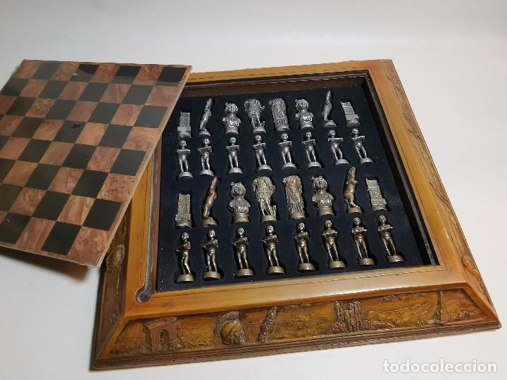 Juegos de mesa: Caja tablero de ajedrez. de Tarraco...Diari de Tarragona ..piezas metal -PRECINTADO AÑOS 90 - Foto 4 - 194228240