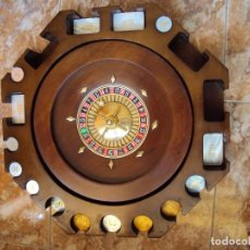 Juegos de mesa: (JU-200333)RULETA DE MADERA NOBLE CON FICHAS DE JUEGO. Lote 196510003