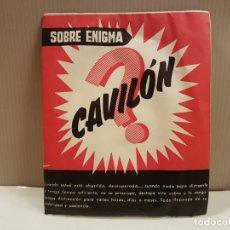 Juegos de mesa: ANTIGUO SOBRE ENIGMA CAVILON SIN ABRIR PERTENECE A JUEGOS REUNIDOS GEYPER NUMERO 50. Lote 196542456