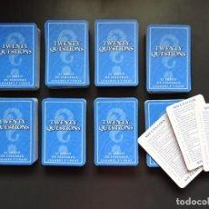 Juegos de mesa: LOTE DE 390 CARTAS DEL JUEGO DE MESA TWENTY QUESTIONS - MB - AÑO 1988 CARTA. Lote 197443836